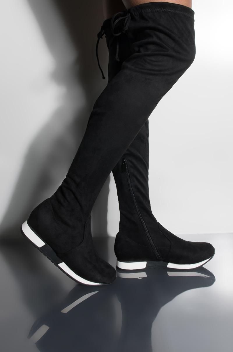 AKIRA Thigh High Sneaker Boot, In Black
