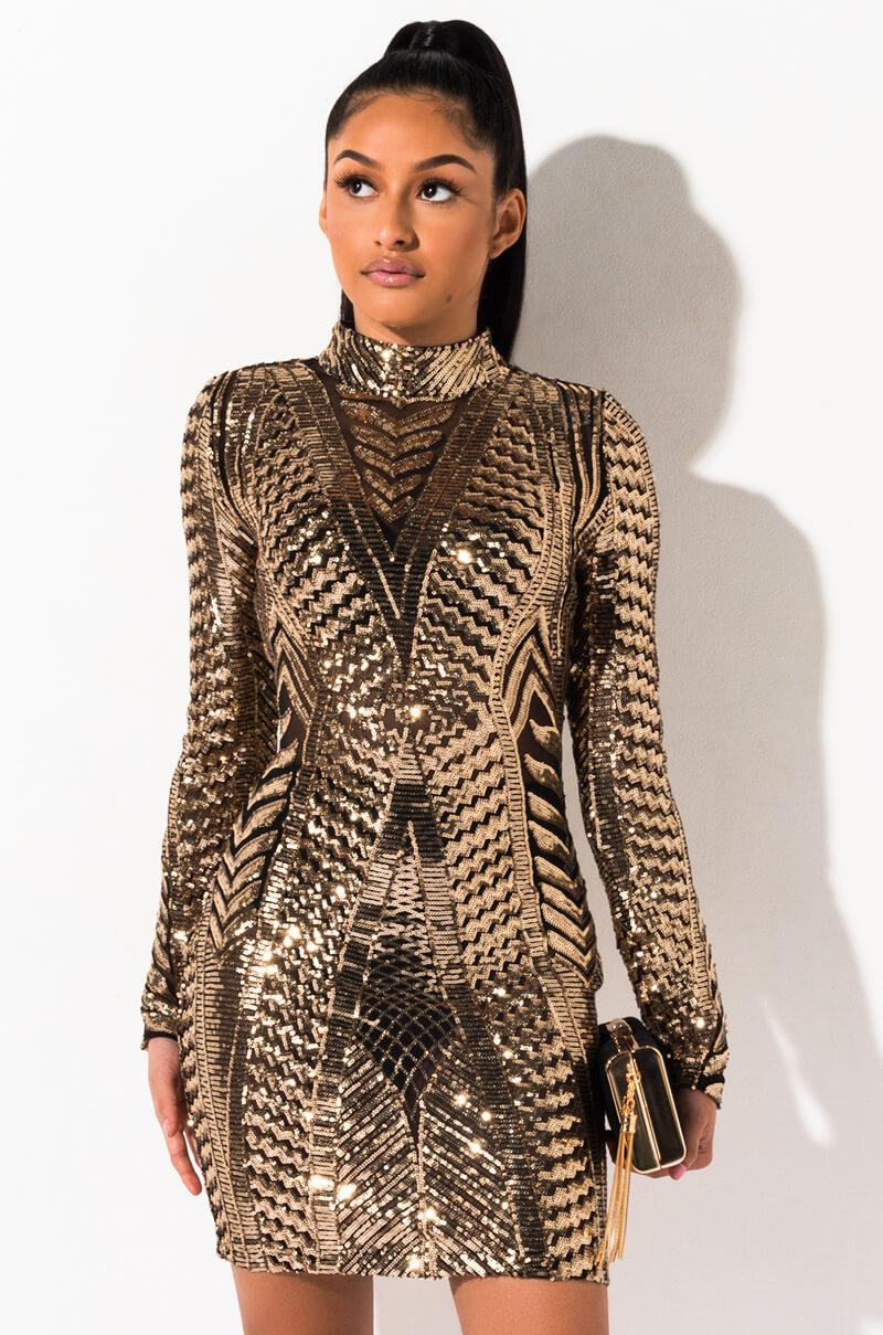 AKIRA Label Mock Neck Sequin Embellished Mini Dress in Gold