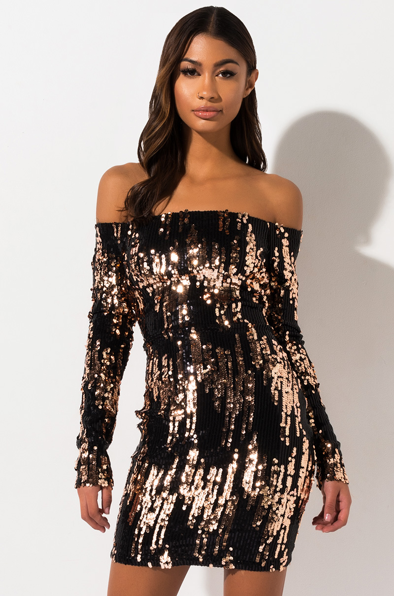 Good And Crazy Off The Shoulder Sequin Mini Dress by Akira