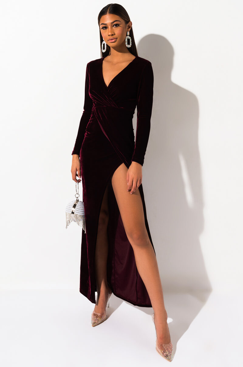 AKIRA Label Long Sleeve Velvet Draped Maxi Dress in Burgundy