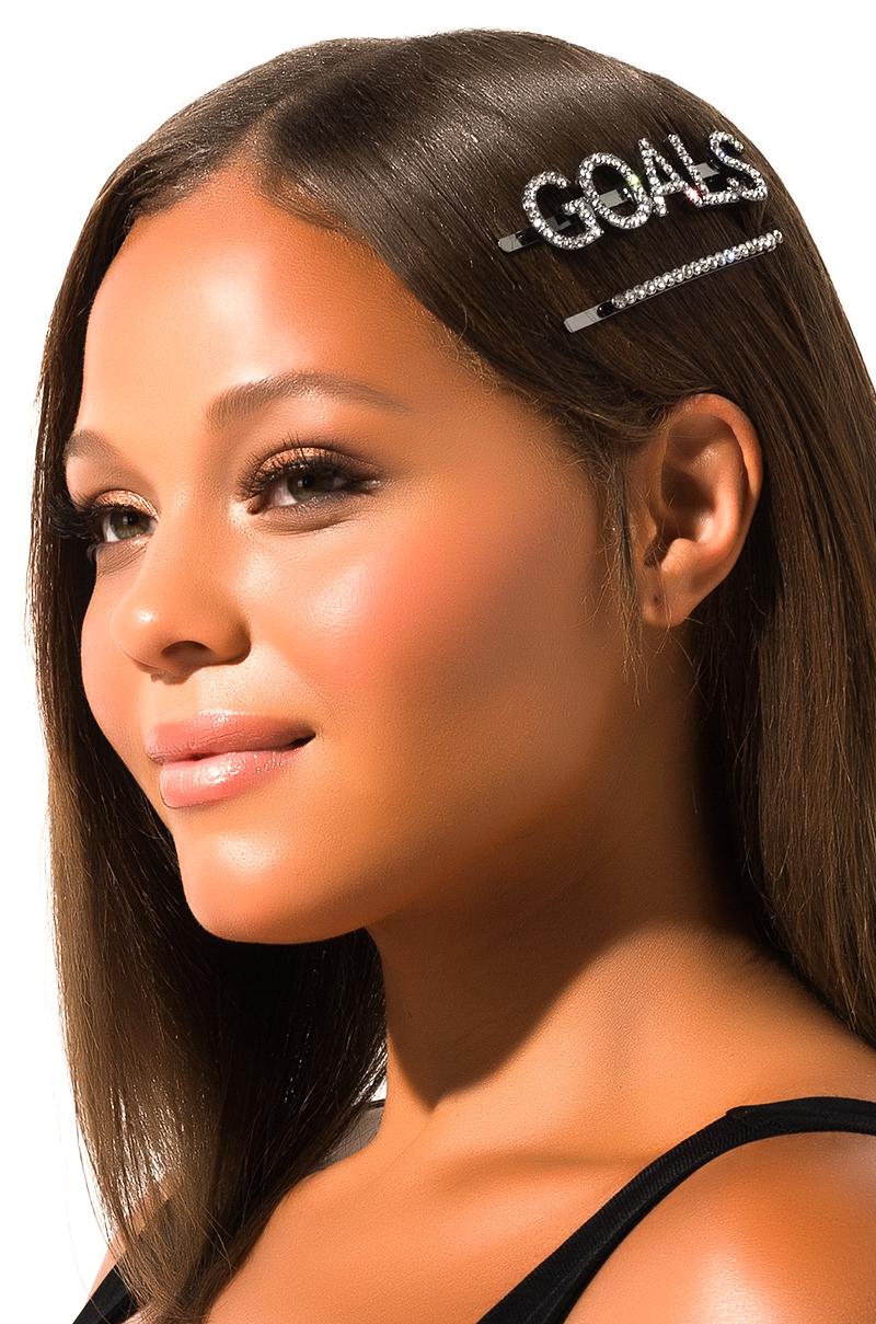 AKIRA Label Rhinestone Hair Goals Hair Pin Set in Silver