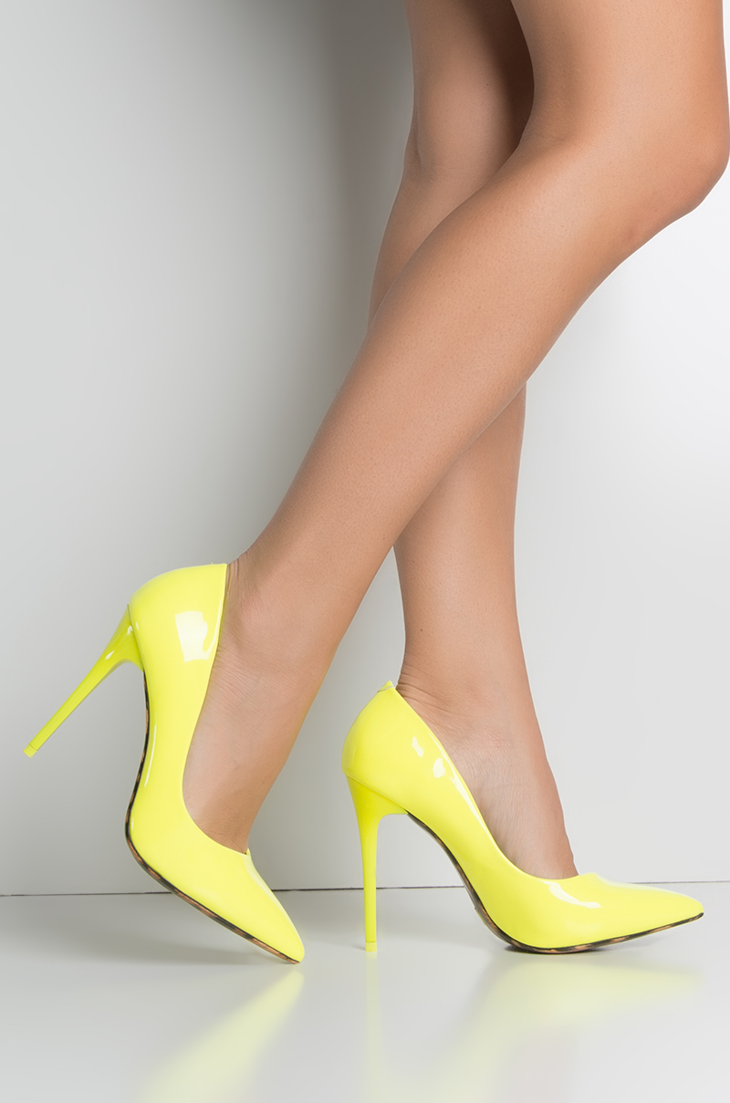 Here to stay stiletto pointed toe pump neon yellow 1