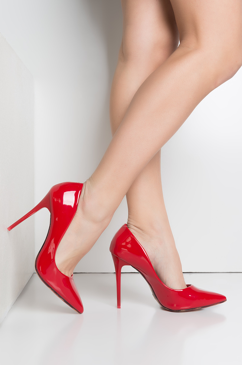 Here to stay stiletto pointed toe pump red patent 1