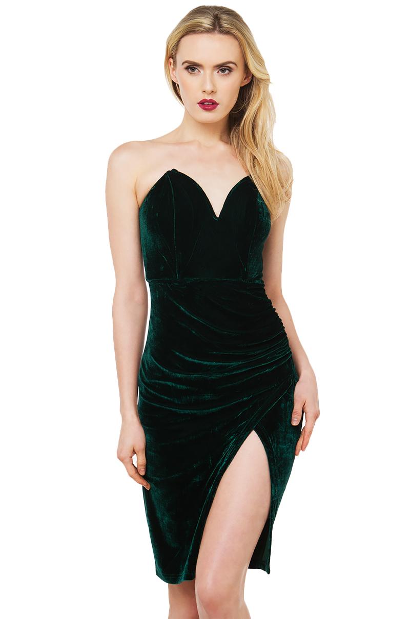 Velvet Dress - Party Dresses - Strapless Dress - Sexy Slit Dress ...