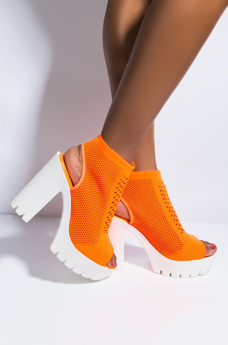 Highlighter Chunky Heel Peep Toe Sock Bootie by Akira