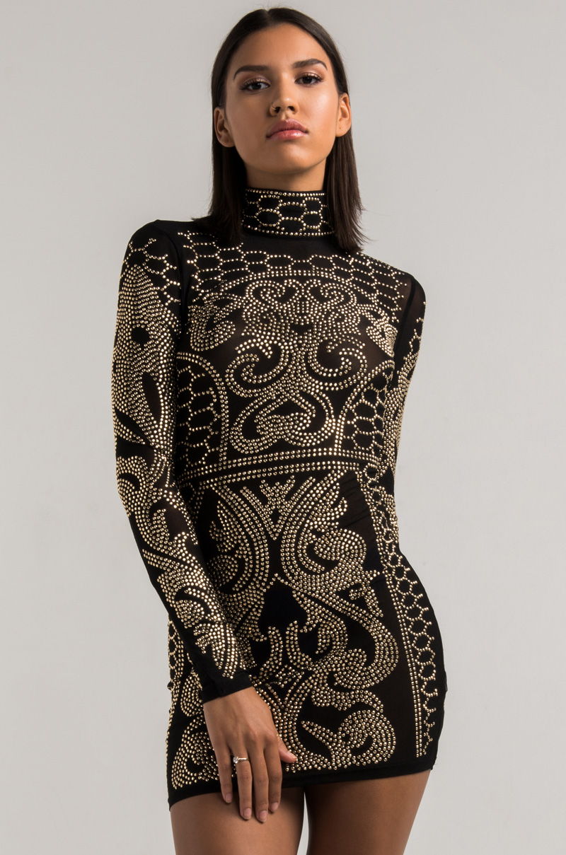 Akira High Neck Studded Long Sleeve Semi Sheer Bodycon