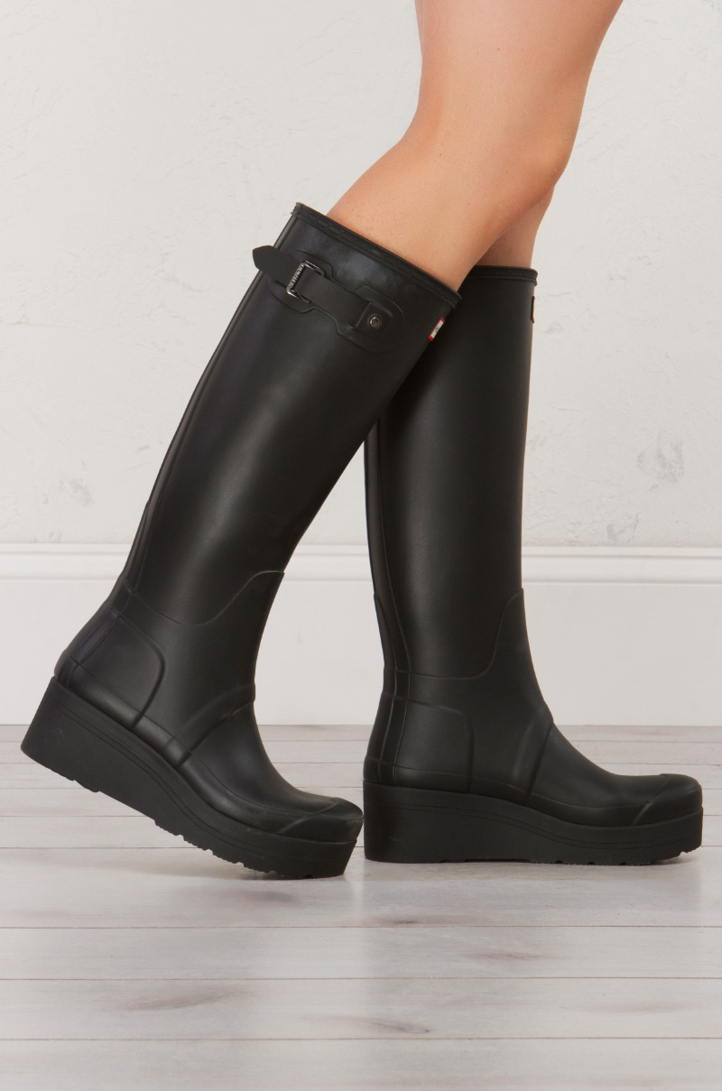 3402d973b5e Hunter Original Tall Boot With Low Wedge in Black Matte
