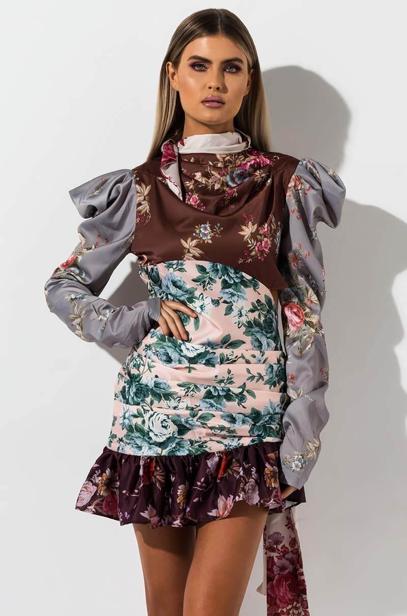 AKIRA Label Floral Print Pattern Block Long Poofy Sleeve Mini Dress in Pink Floral