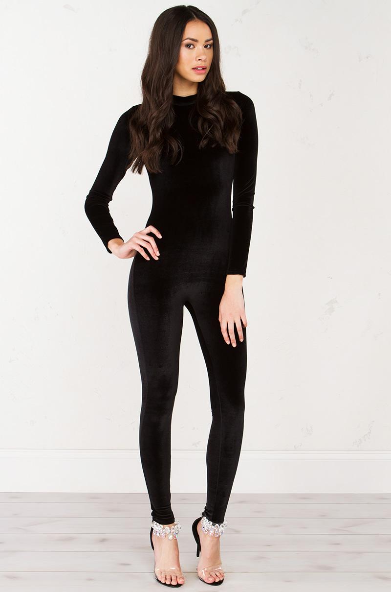 Velvet Catsuit In Black
