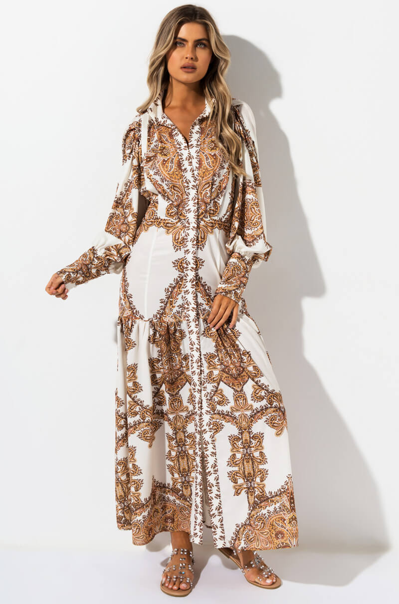 AKIRA Label Paisley Print Long Sleeve Western Maxi Dress in Cream Brown