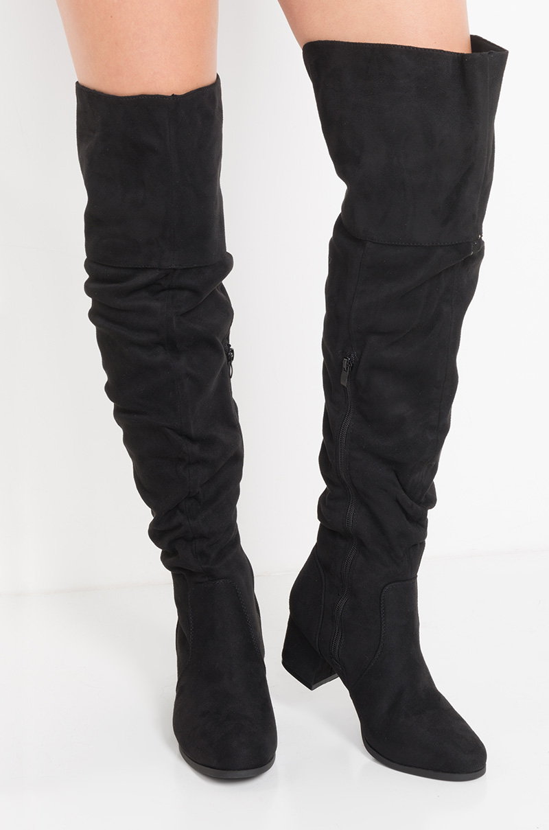 0e86f3e9d9d AKIRA Thigh High Slouchy Fit Low Chunky Heel Faux Suede Boots