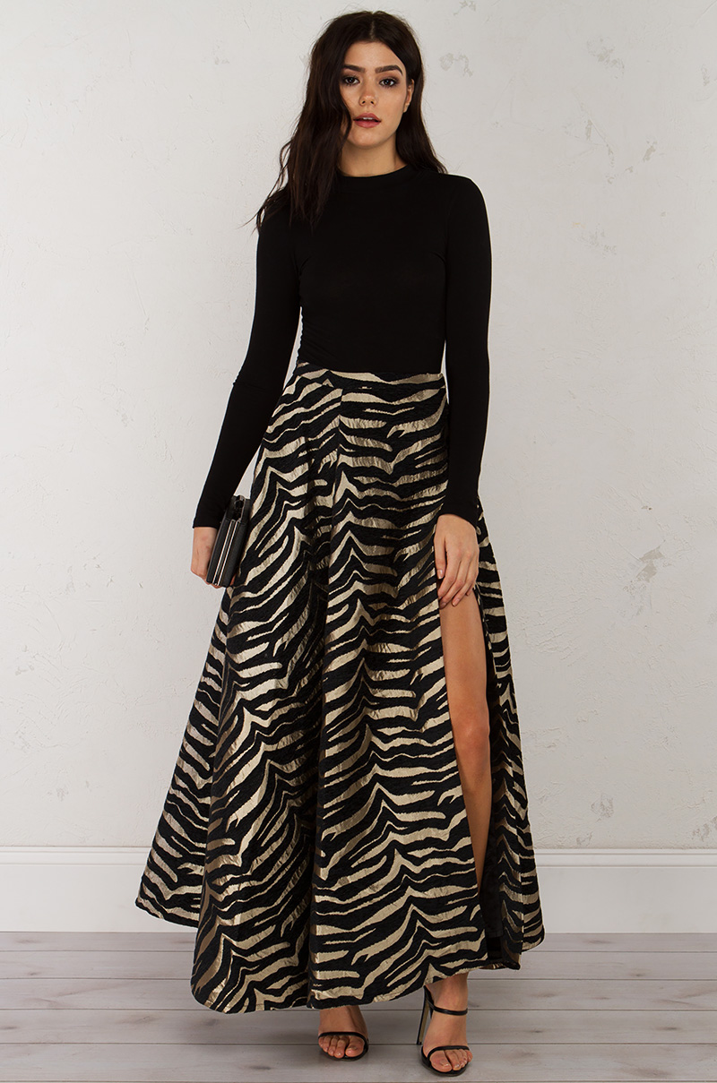 high slit maxi skirt in black gold