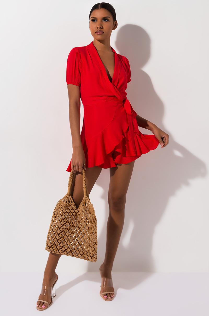 AKIRA Label Short Sleeve Wrap Mini Dress with Ruffle Hem in Red