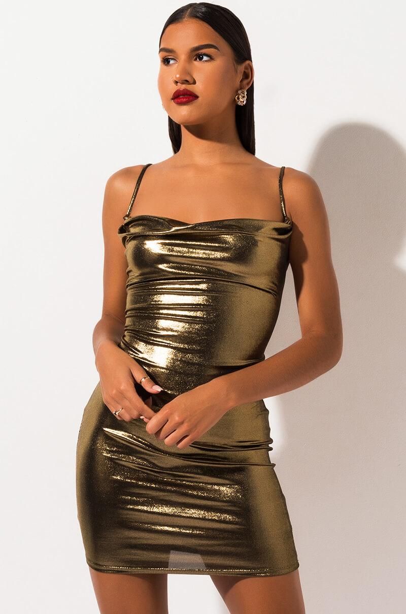 AKIRA Label Cowl Neck Metallic Bodycon Mini Dress in Gold