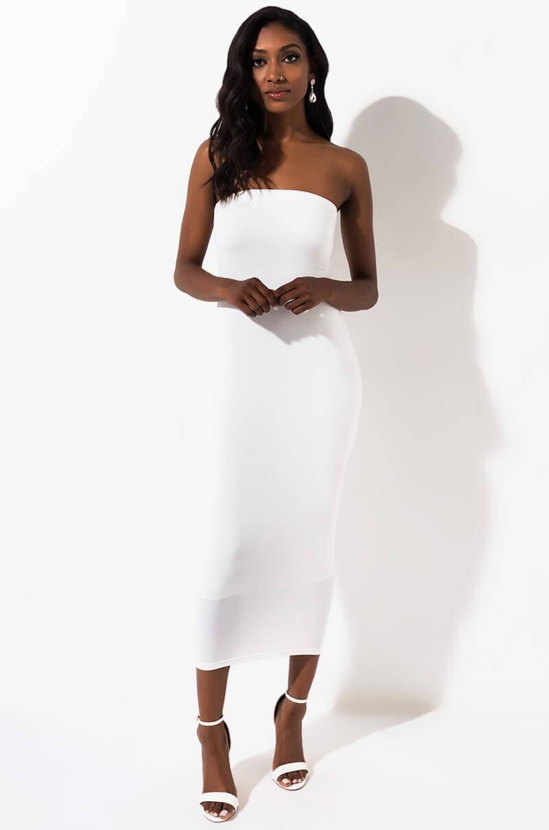 AKIRA Label Stretch Knit Strapless Elastic Bodycon Midi Dress, In Ivory