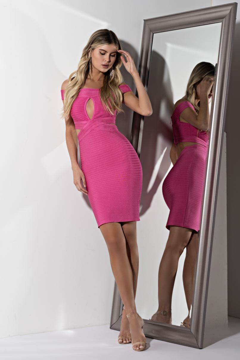 AKIRA Label Bandage Knit Cut Out Mini Party Dress in Pink, Yellow