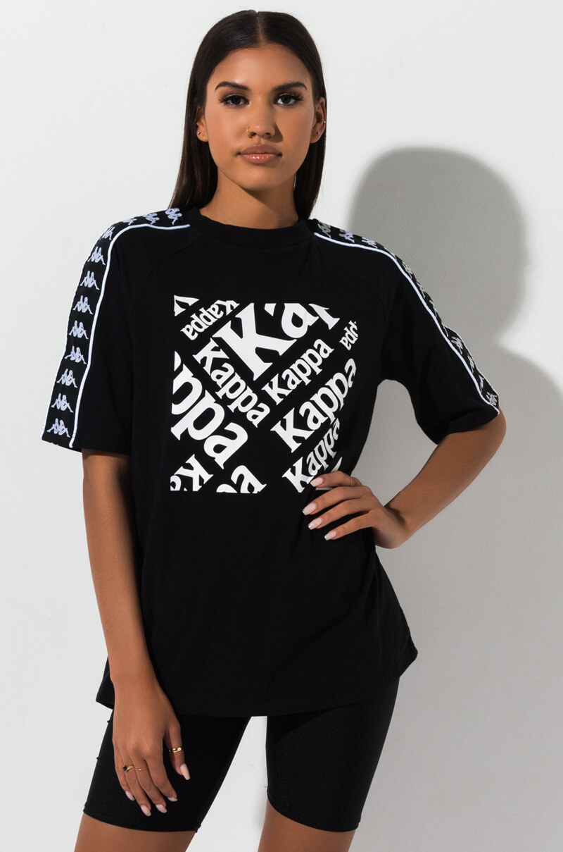 2068335b5b Kappa Short Sleeve Logo Embelished Sporty Graphic T Shirt in Black