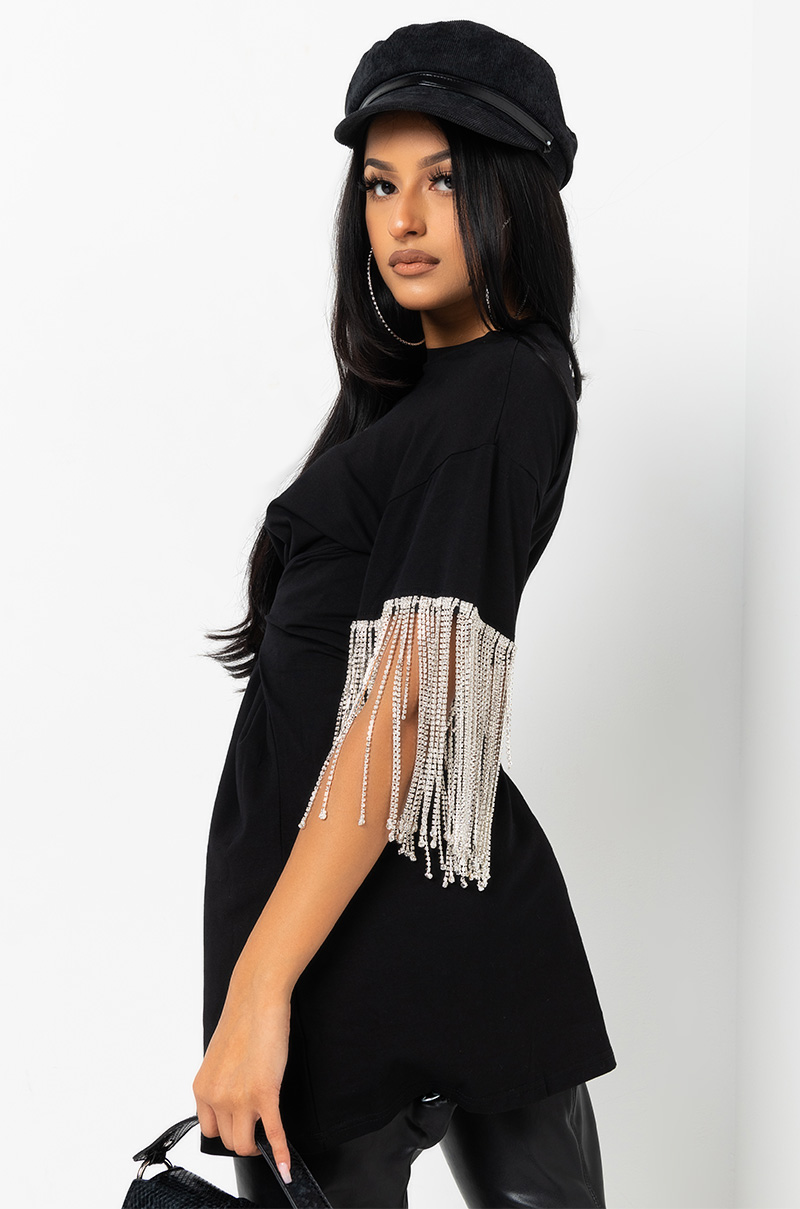 KISS THE RING FRINGE T-SHIRT DRESS