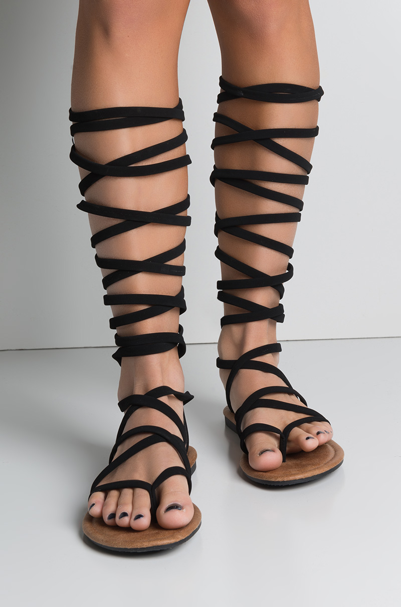 BlackChampagne Strappy Faux Flat Sandals In Suede High Gladiator Knee FKlJc1