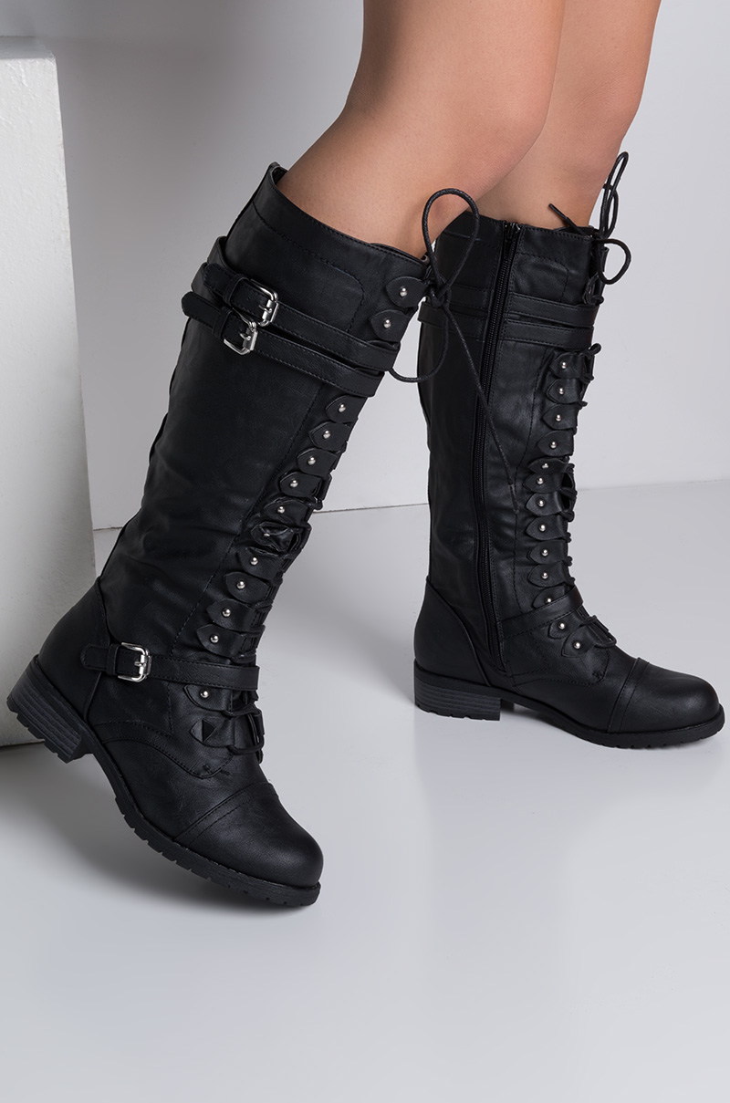 Knee High Low Chunky Heel Lace Up Faux Leather Combat