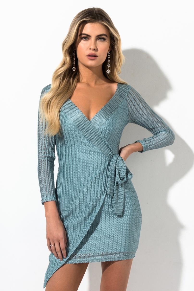 AKIRA Off Shoulder Knit Mini Wrap Dress in White, Black