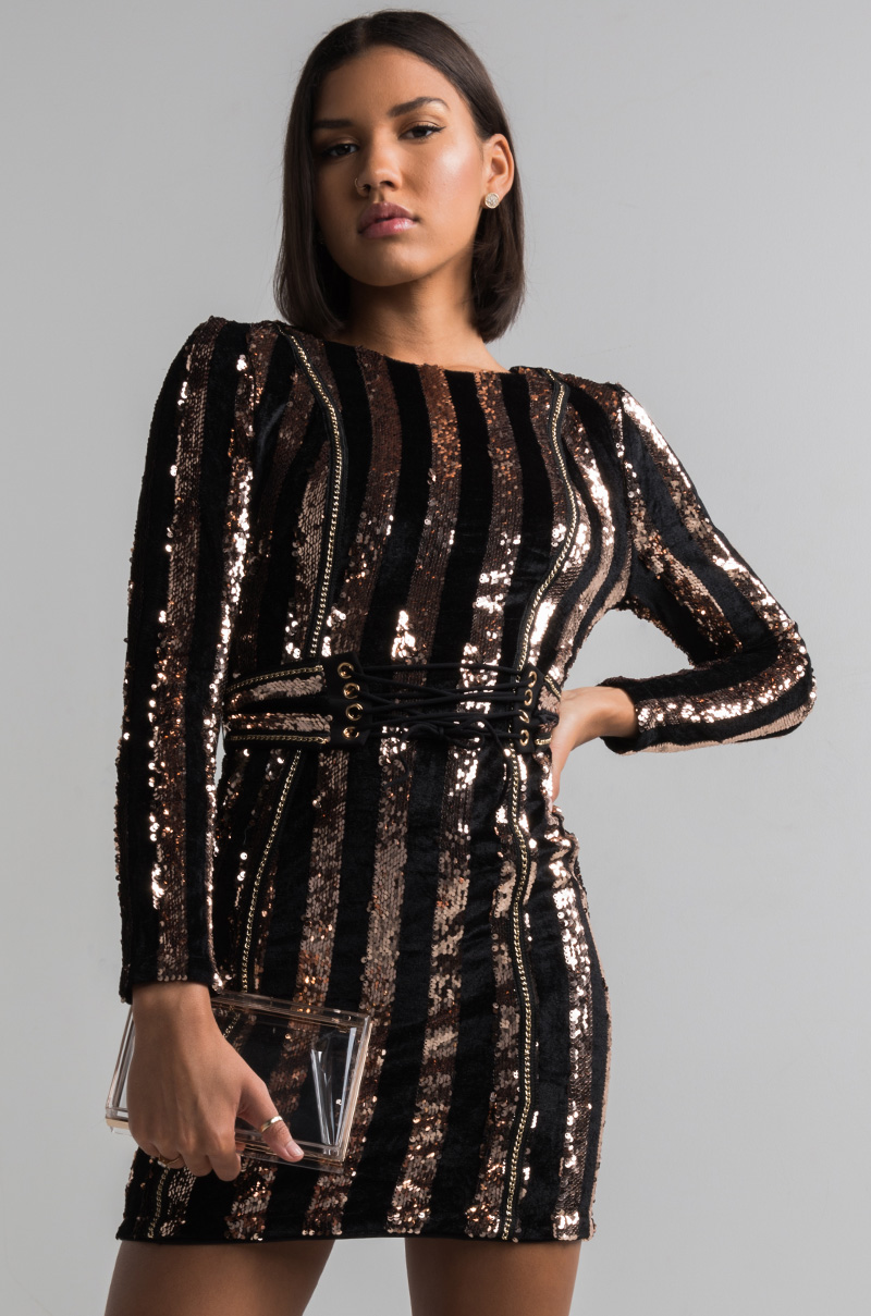 398d1510602 Shopakira · AKIRA Bodycon Velvet Sequin Chain Lace Up Belt Mini Dress in ...