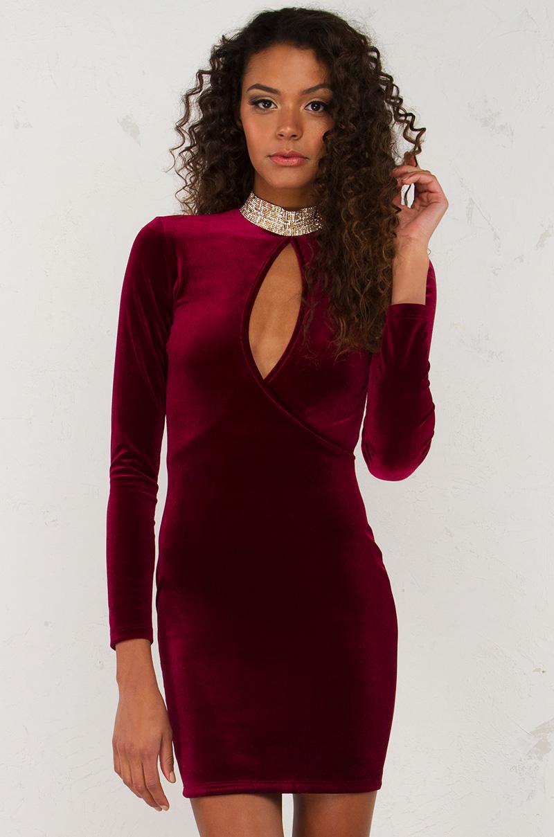 Velvet Long Sleeve Midi Dress in Burgundy