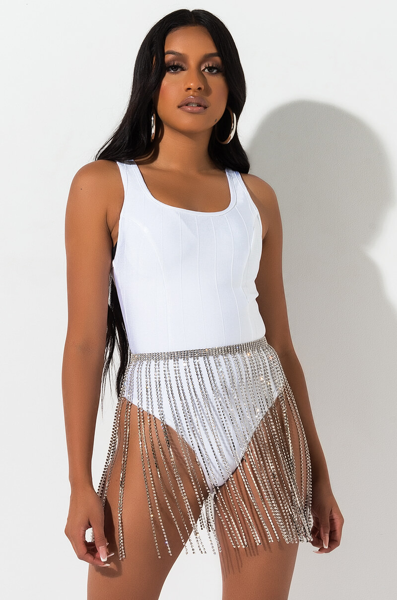 Luxy Lust Rhinestone Fringe Skirt by Akira