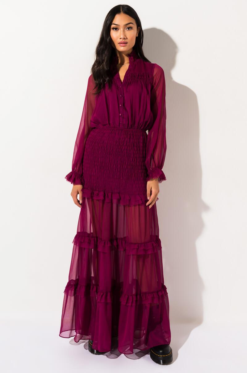 AKIRA Label Sheer Ruffle Long Sleeve Button Up Maxi Length Dress, In Green, Purple