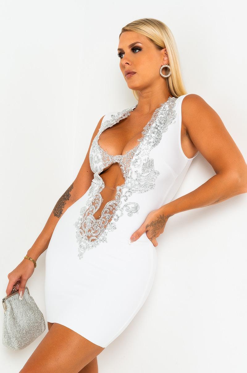 AKIRA Label Sequin Plunging Neck Bodycon Mini Dress In White