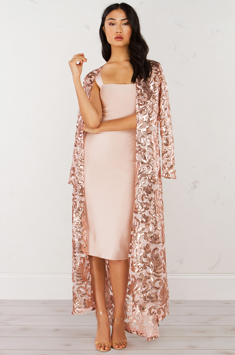 Long Sequin Jacket In Blush Gold And Black Gold