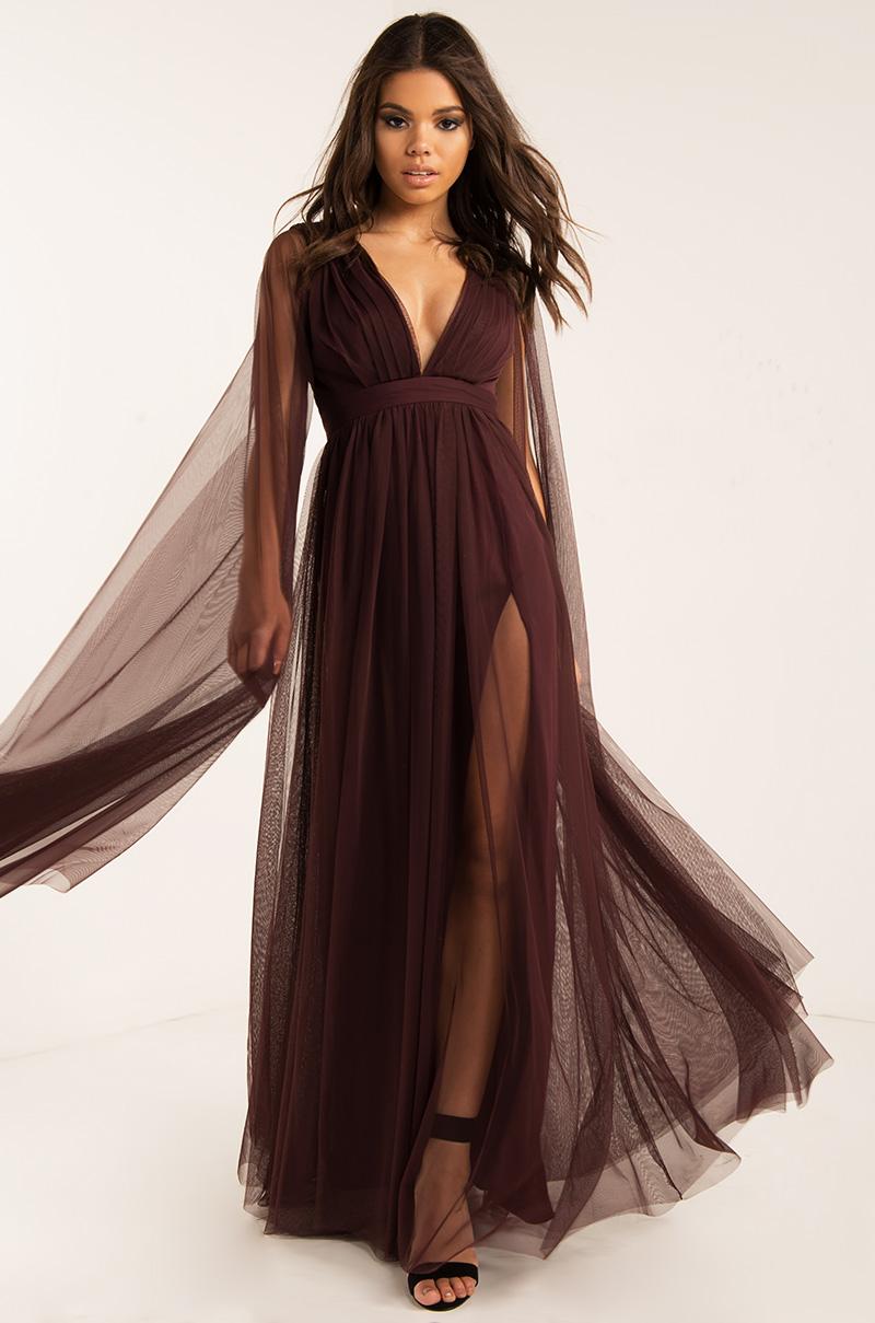 bc265fb0ba AKIRA Long Sleeve Plunging Neckline Backless Maxi Special Occasion Dress in  Sassafras, Junebug Green