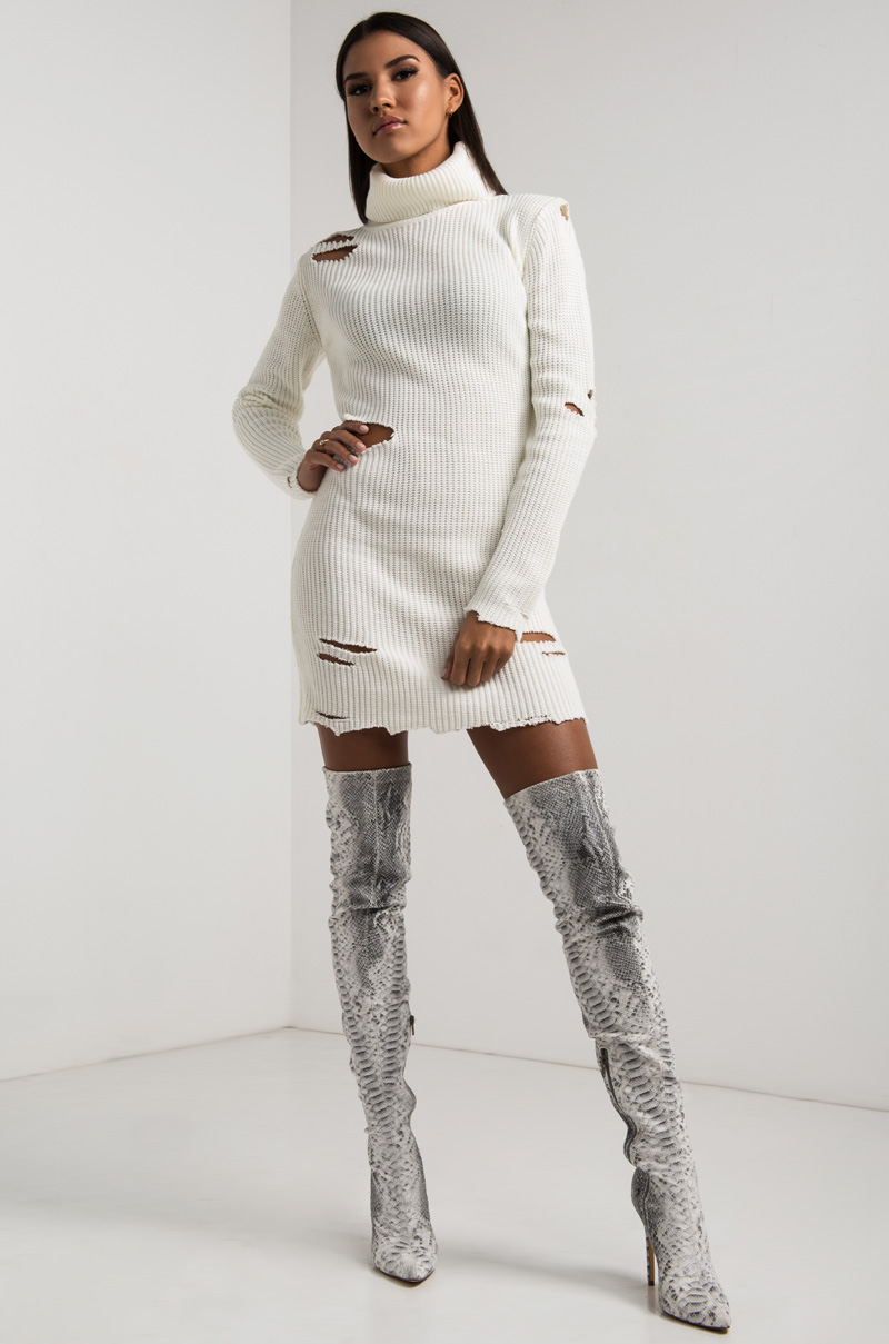Akira Turtleneck Ribbed Knit Long Sleeve Distressed Knee