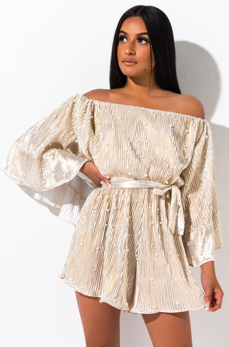 No Need For Searching Off The Shoulder Romper by Akira