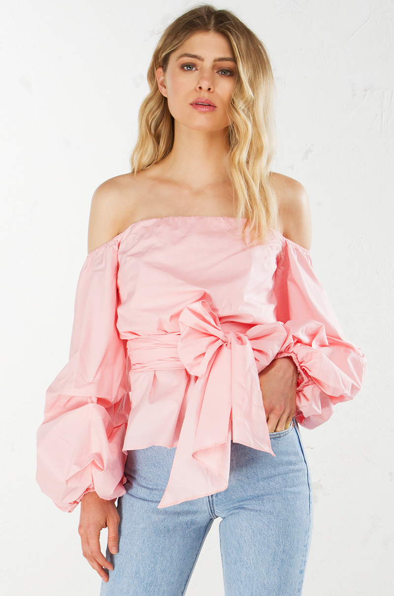Off The Shoulder Wrap Top in Black, White, Rose and Yellow