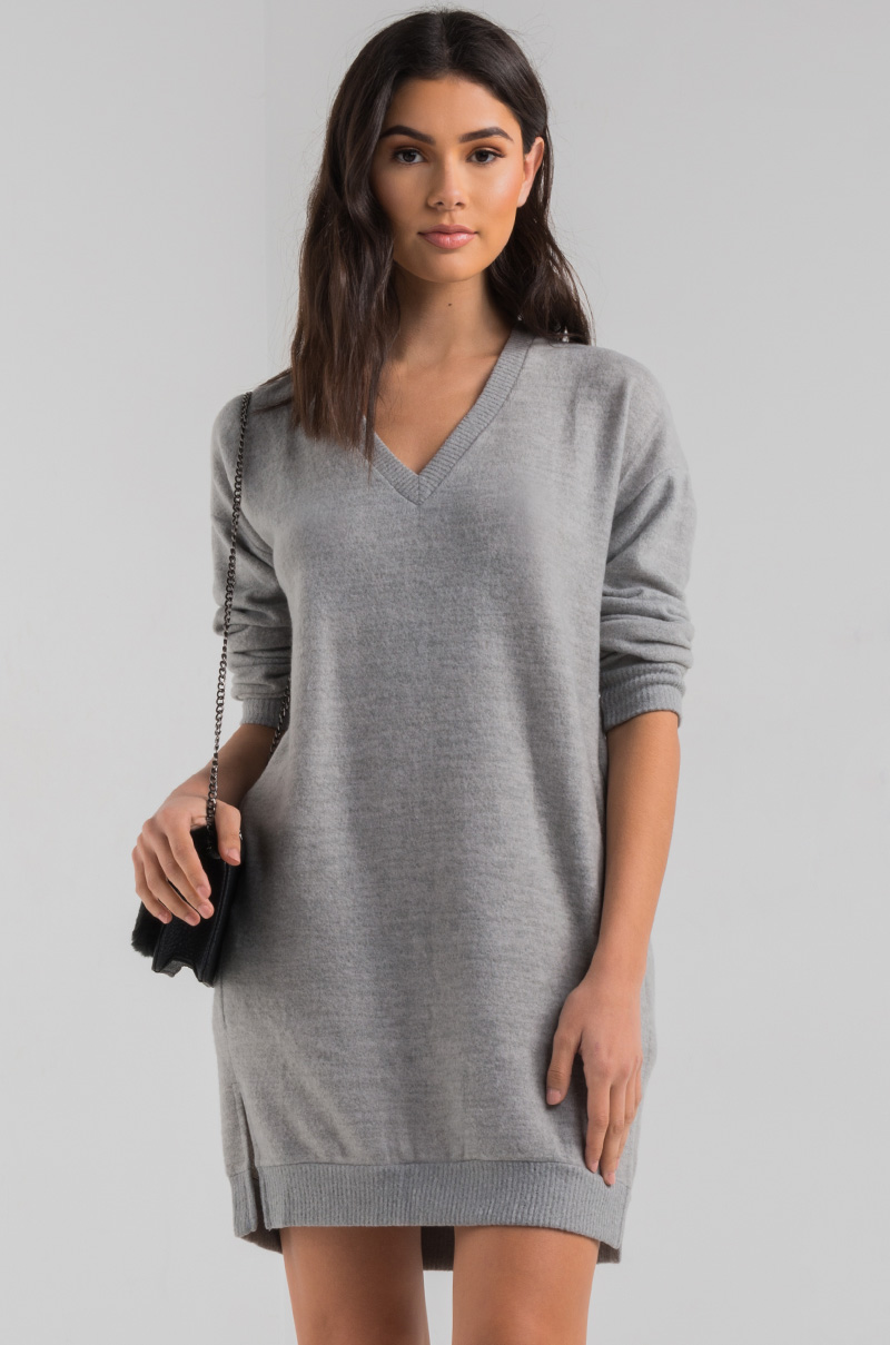c8ee5ca04c V Neck Long Sleeve Soft Pleated Back Split Sides Knitted Sweater Dress in  Heather Grey