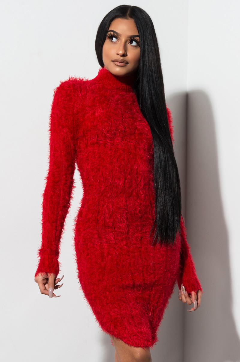 1260b3b4b70 AKIRA Label Fuzzy Long Sleeve Bodycon Turtleneck Sweater Dress in ...