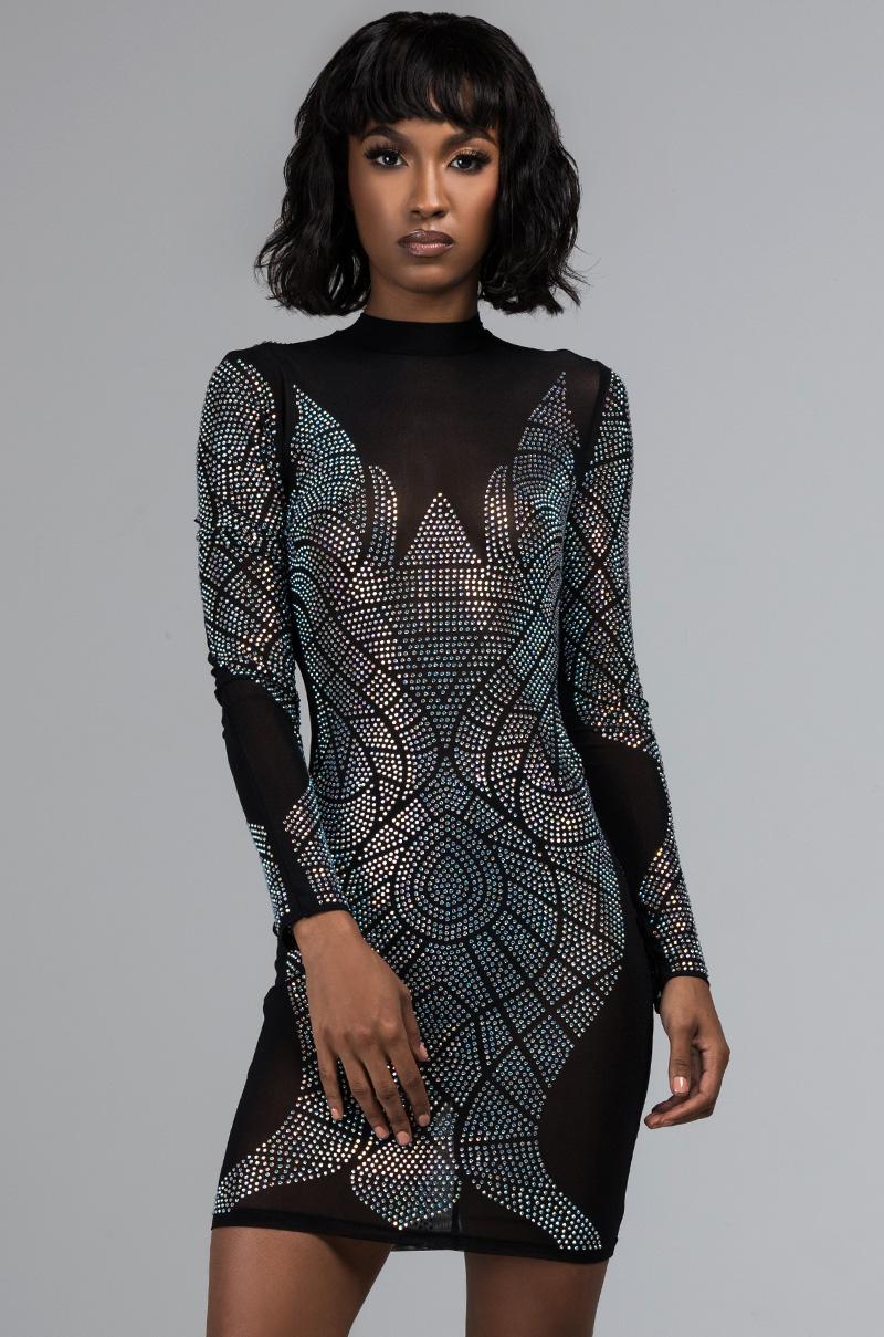 01019470186 AKIRA Label Sheer Beaded Neckline Long Sleeve Mesh Tunic Top in Black