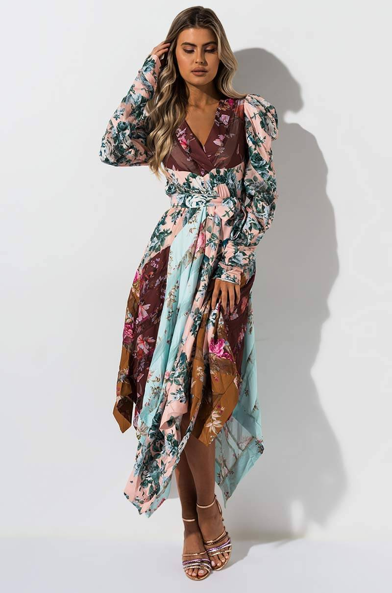 AKIRA Label Long Sleeve Pattern Blocked Floral Print Maxi Dress in Pink Floral