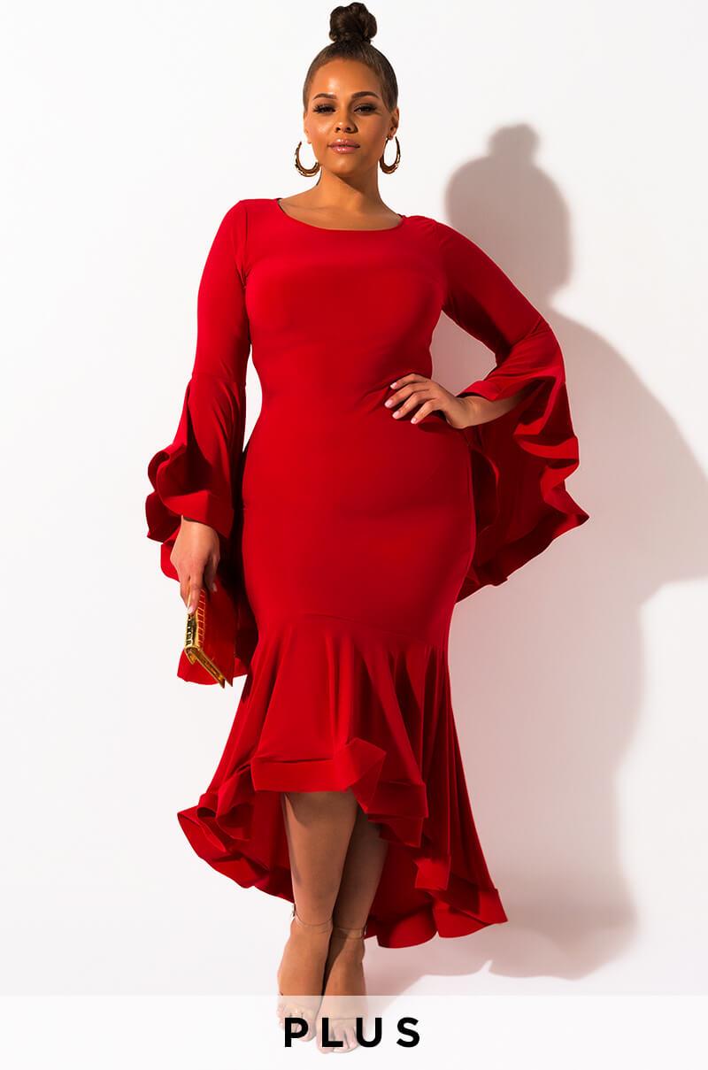 AKIRA Label Plus Long Sleeve Layered Ruffled Maxi Dress in Red, Black