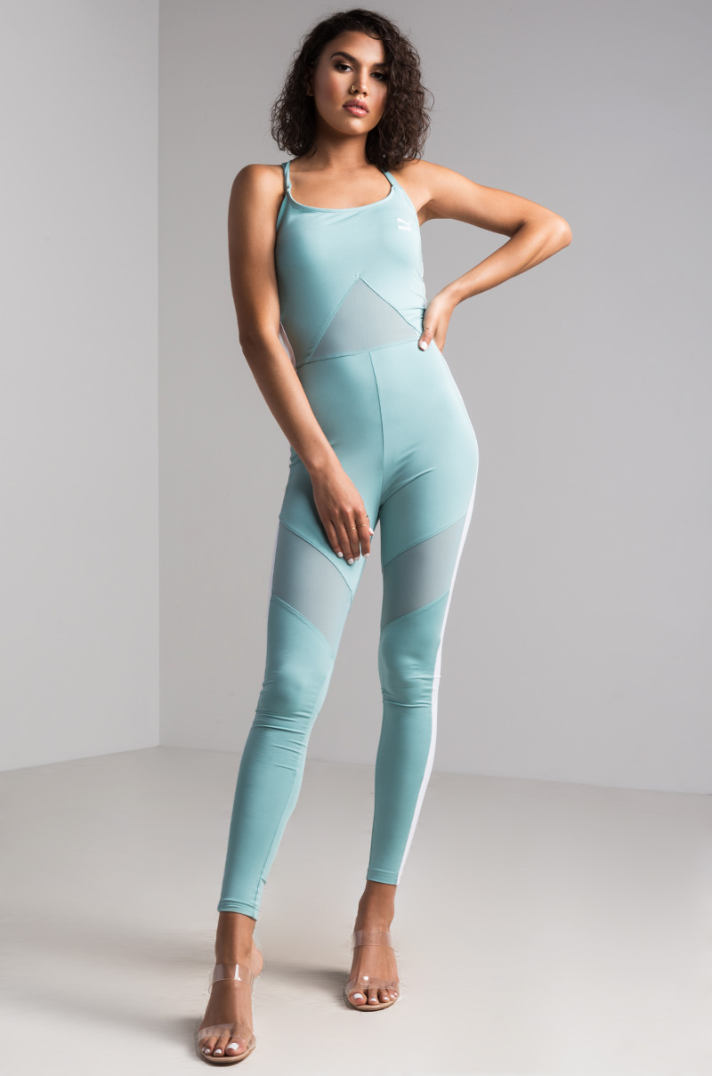 50dadcc2bab PUMA Bodycon Mesh Racerback Archive T7 Jumpsuit in Aquifier