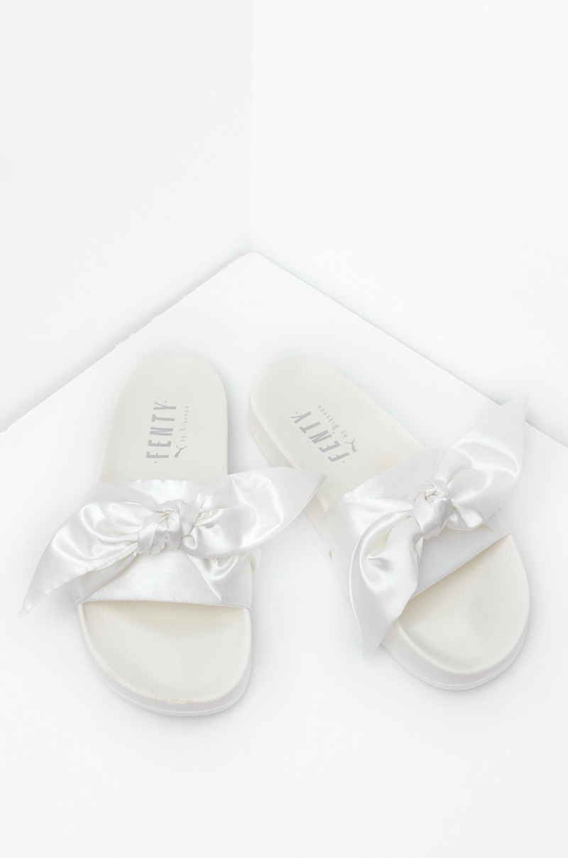 new product 9e9e6 93b22 Puma X Fenty Slides In Silver Pink Olive And Marshmallow ...
