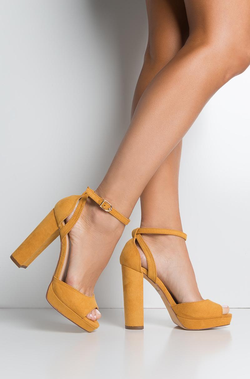 c9122bb456 Shopakira · Faux Suede Strappy Chunky High Heel Open Toe Platform Sandals  in Black, Mustard · #akirahigh ...