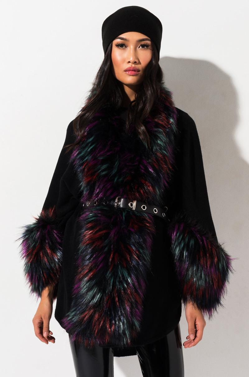 Radiant Multi Faux Fur Poncho by Akira