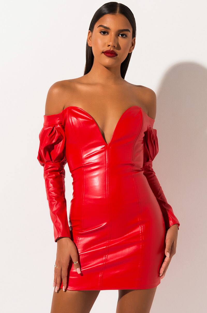 AKIRA Label Off Shoulder Long Sleeve Faux Leather Bodycon Dress in Red