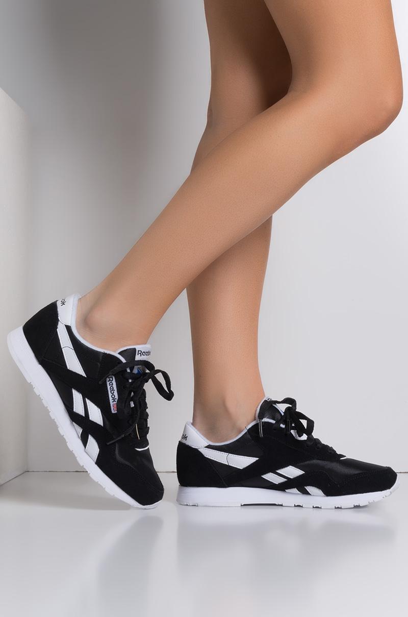 687cd8c17ca Reebok Classic Nylon Gum Women s Sneaker in Nylon Black White