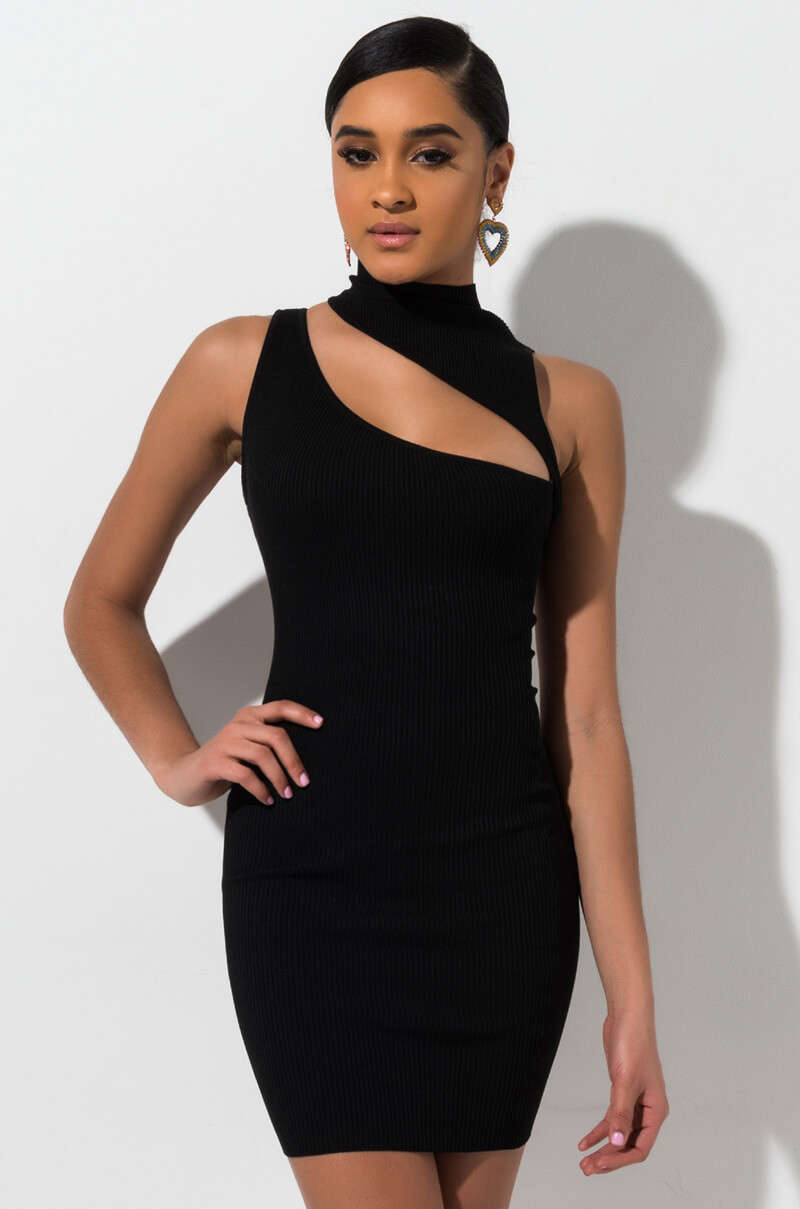 e6374b29b125 AKIRA Label Ribbed Knit Strapless Checkered Print Midi Dress in ...