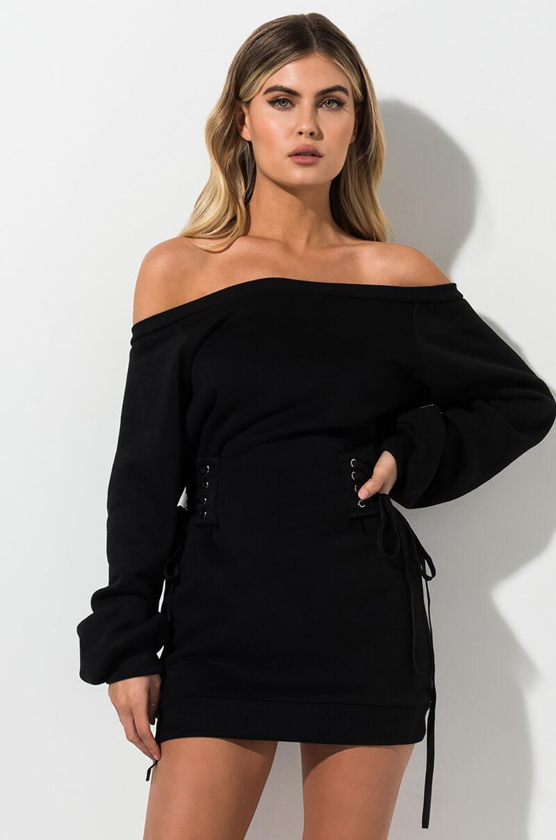 AKIRA Label Long Sleeve Sweater Mini Dress with Corset Waist Detail in Orange, Bone