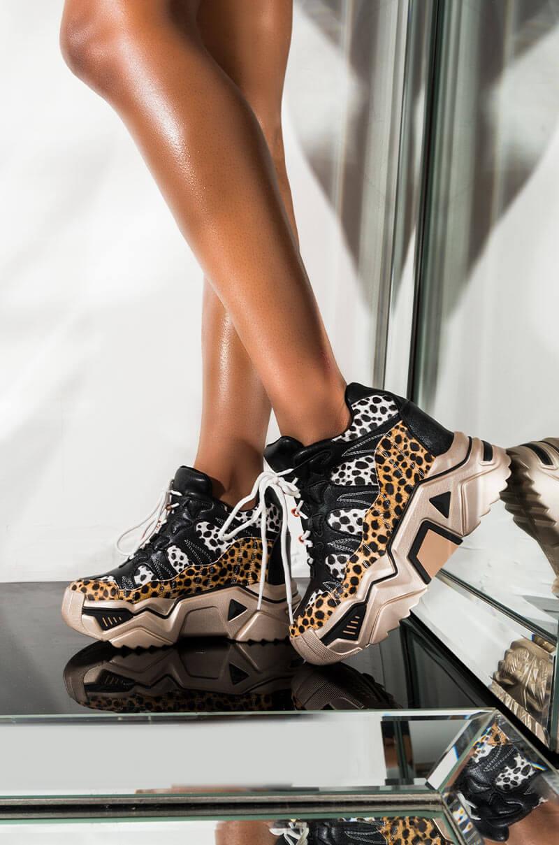 Run Like The Wind Leopard Platform Wedge Sneaker by Akira