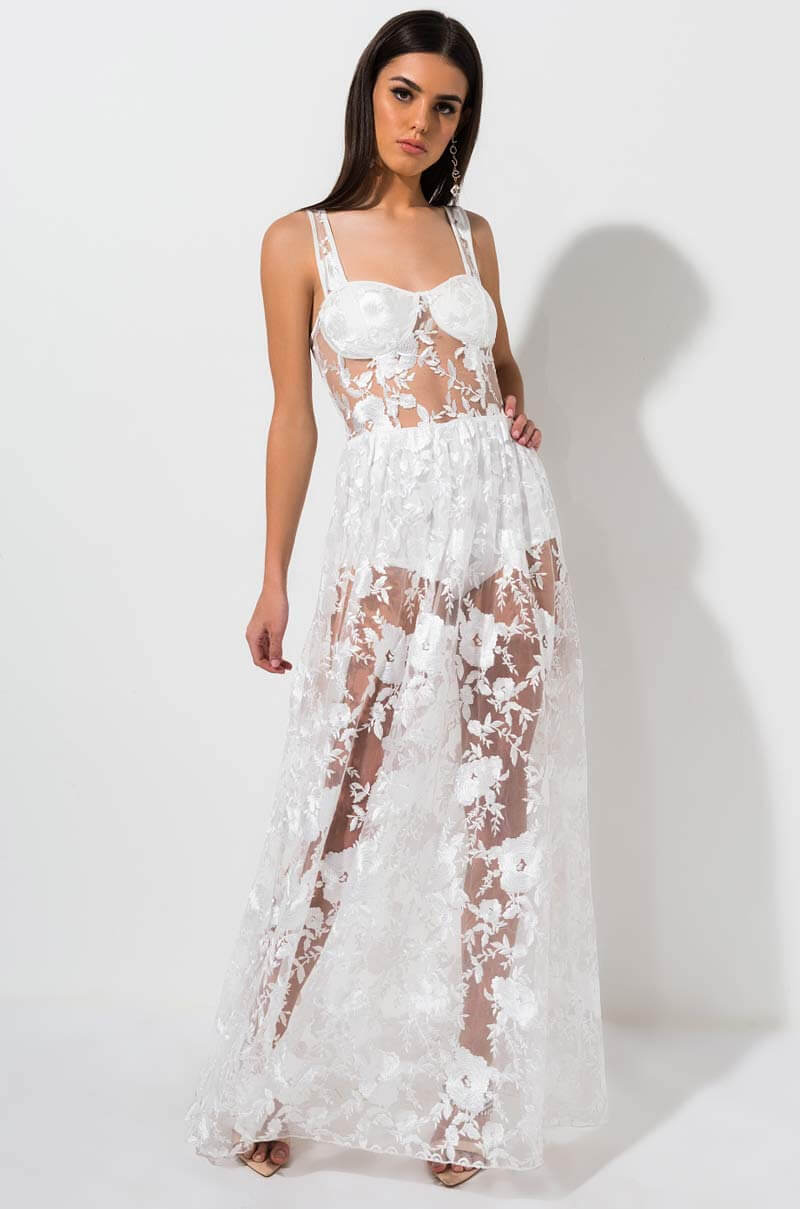 ca10d13e0ac8a AKIRA Label Sheer Floral Embroidered Maxi Gown in White, Mauve